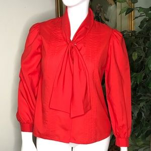 Vintage Judy Bond Red Button Down Blouse